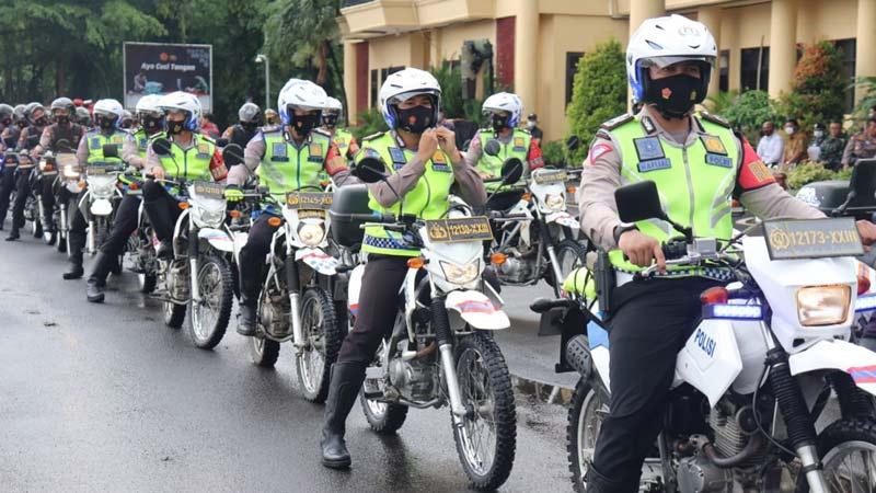 jamin nataru aman, kapolda banten lepas langsung personel gabungan laksanakan patroli skala besar