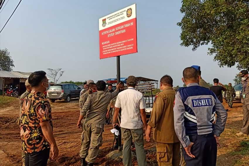Satpol PP Kabupaten Tangerang, Tutup Galian Tanah Di Bantar Panjang Tigaraksa